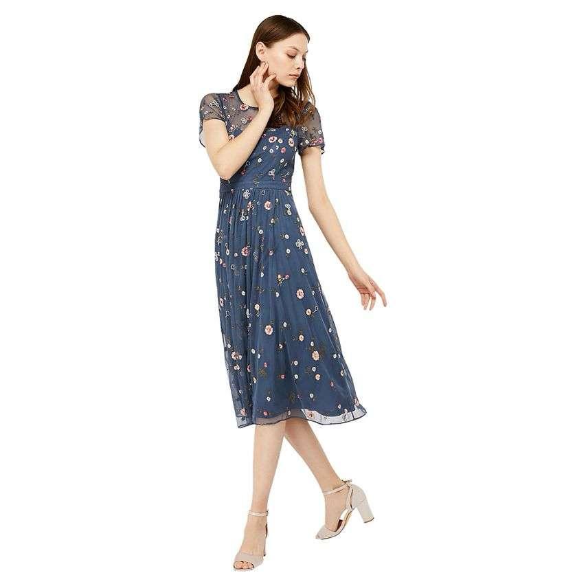 Monsoon Grey 'Brooke' Embellished Dress