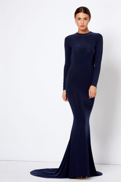 Navy Backless Fishtail Maxi Dress By Club L
