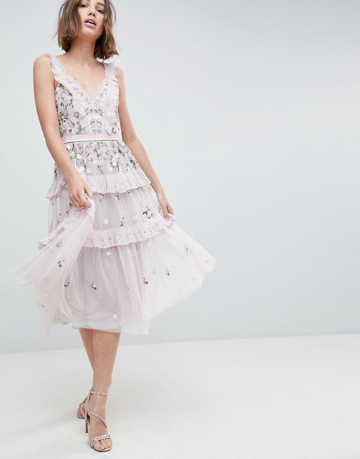 Needle & Thread Layered Midi Dress With Embellishment