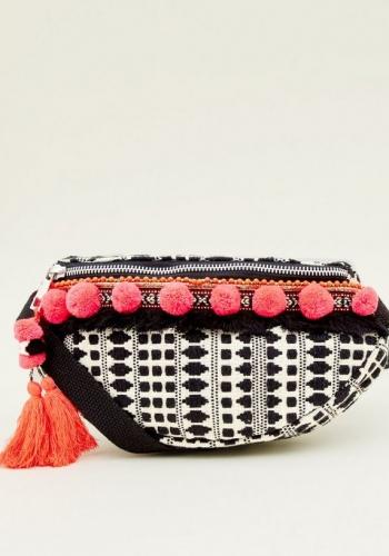 New Look Black Neon Pom Pom Tim Bum Bag