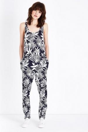 New Look Blue Leaf Print Sleeveless Jumpsuit