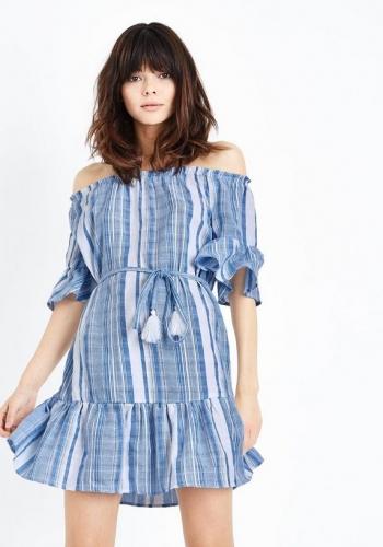 New Look Blue Woven Stripe Tassel Belt Bardot Dress