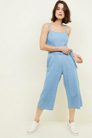 New Look Bright Blue Lightweight Denim Jumpsuit