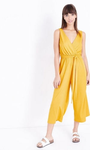 New Look Mustard Ribbed Sleeveless Jersey Culotte Jumpsuit