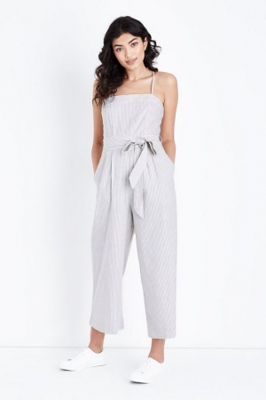 New Look Off White Stripe Square Neck Jumpsuit