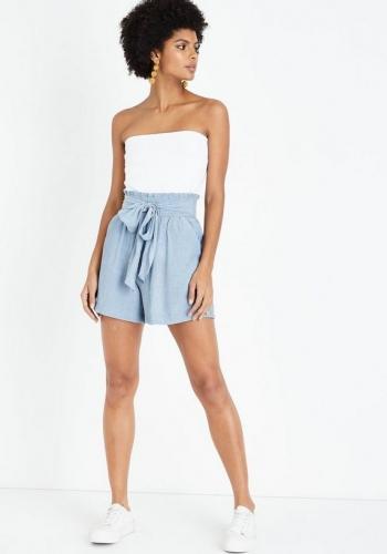 New Look Pale Blue Crinkle Tie Waist Shorts