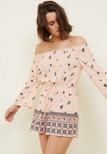 New Look Pale Pink Floral Border Print Bardot Playsuit