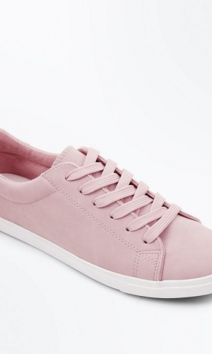 New Look Pink Suedette Lace Up Trainers