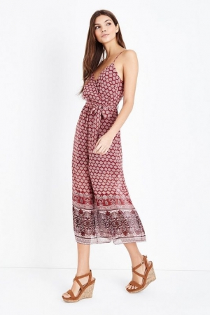 New Look Red Border Print Culotte Jumpsuit