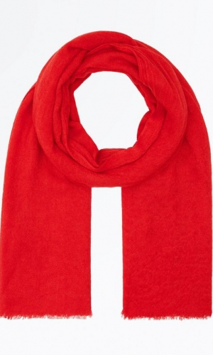 New Look Red Fray Hem Scarf