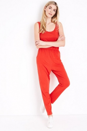 New Look Red Jersey Sleeveless Jumpsuit