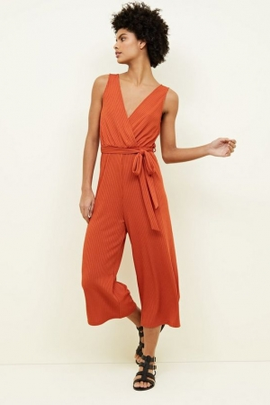 New Look Rust Ribbed Sleeveless Jersey Culotte Jumpsuit