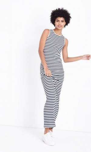 New Look Tall Blue Stripe Sleeveless Maxi Dress