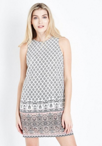New Look White And Pink Border Print Tunic Dress