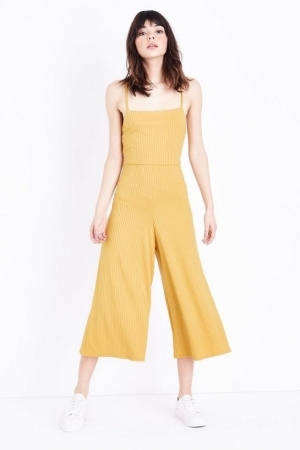 New Look Yellow Ribbed Strappy Square Neck Culotte Jumpsuit