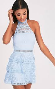 Pretty Little Thing Raine Dusty Blue Lace Panel Tiered Bodycon Dress