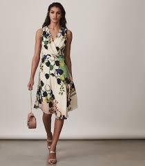 Reiss FLORAL PRINTED DRESS MULTI