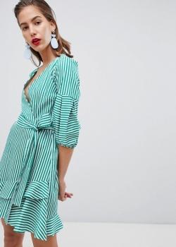 River Island Tie Waist Wrap Front Ruffle Mini Dress