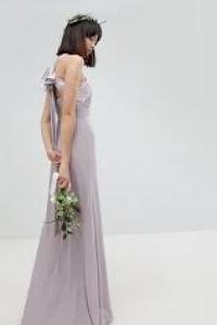 TFNC Bow Back Pleated Maxi Bridesmaid Dress