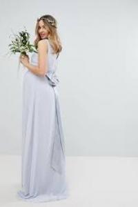 TFNC Maternity Sateen Bow Back Maxi Bridesmaid Dress