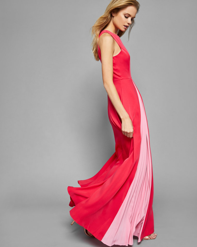 Ted Baker Contrast Pleated Panel Maxi Dress