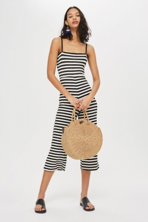 Topshop Shirred Striped Jumpsuit