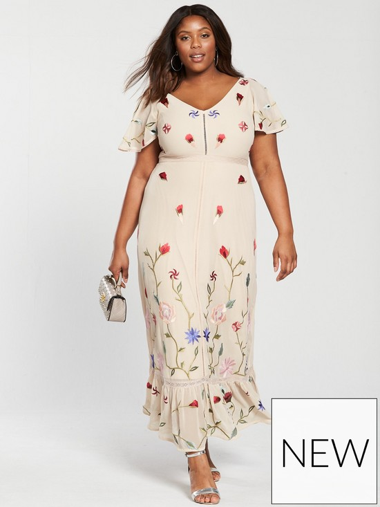 V By Very Curve Premium Embroidered Maxi Dress