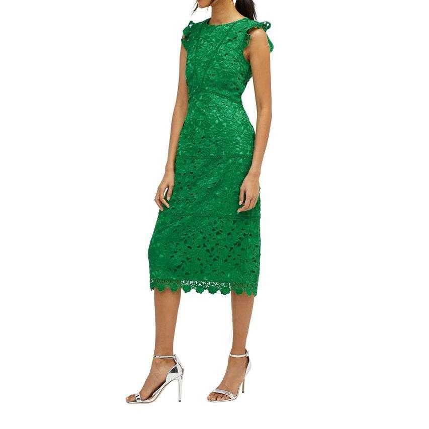 Warehouse Scallop Hem Lace Midi Dress