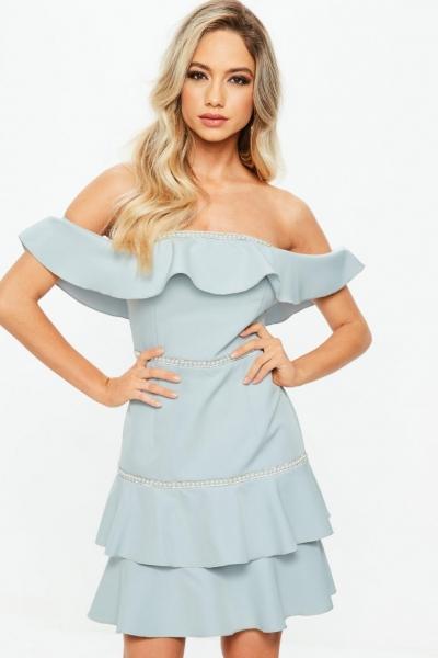 Missguided Blue Bardot Ruffle Pearl Diamante Swing Dress