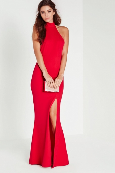 Missguided Choker Maxi Dress Red
