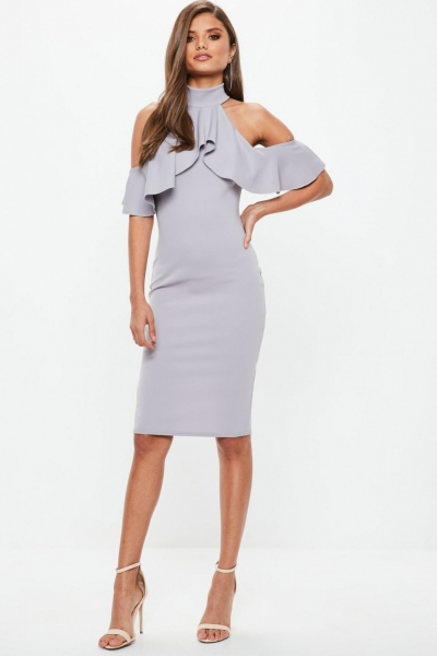 Missguided Grey High Neck Frill Cold Shoulder Midi Dress