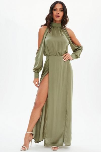 Missguided Khaki Split Front Satin Maxi Dress