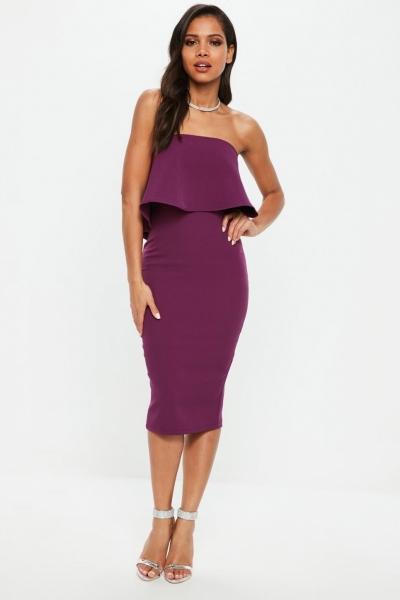 Missguided Purple Bandeau Frill Midi Dress