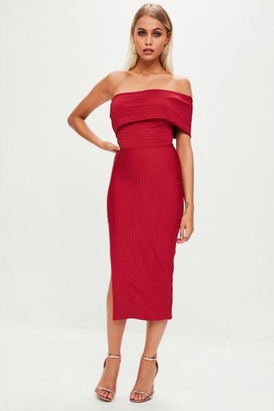 Missguided Red Bandage One Shoulder Split Midi Dress