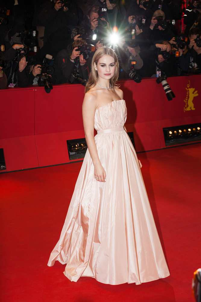 Lily James wearing Dior at the Berlin Film Festival