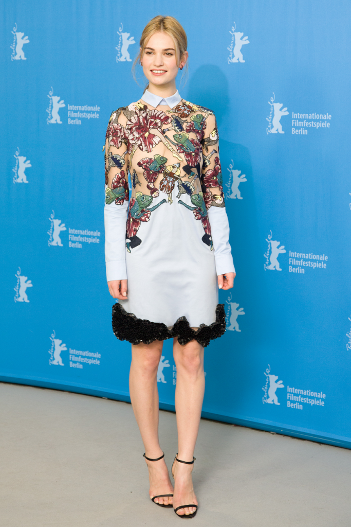 Lily James stands out in Mary Katrantzou