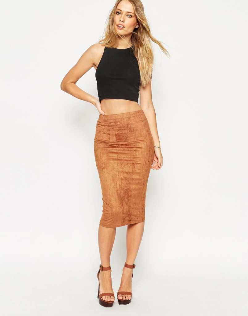 ASOS Midi Pencil Skirt In Faux Suede