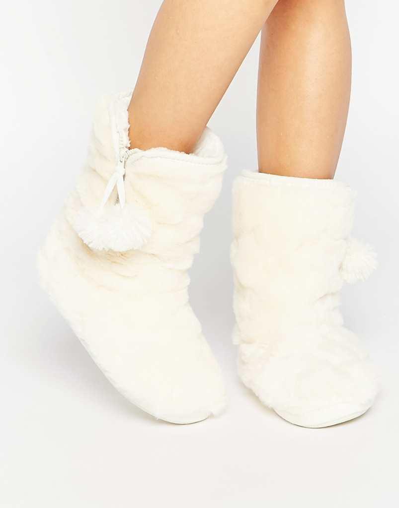 Oasis Fluffy Fur Bootie Slipper