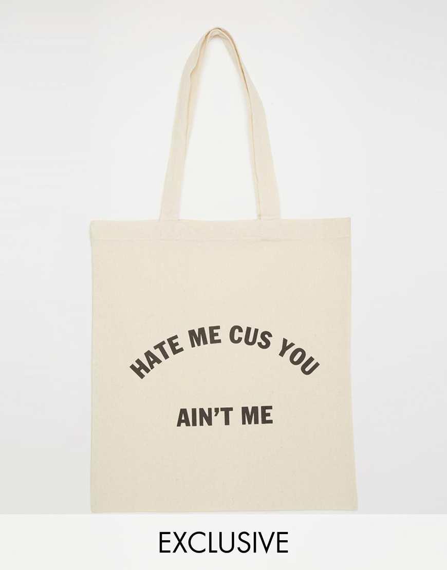 Reclaimed Vintage Hate Me Tote Bag