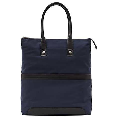 Reiss Ten Contrast Leather Trim Tote Bag, Navy