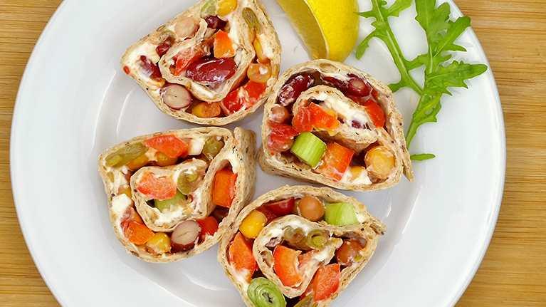 Healthy lunch box recipe tortilla rolls