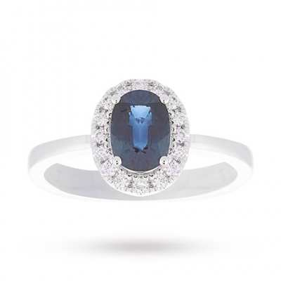 18 Carat White Gold Sapphire And Diamond Ring Ring Size K