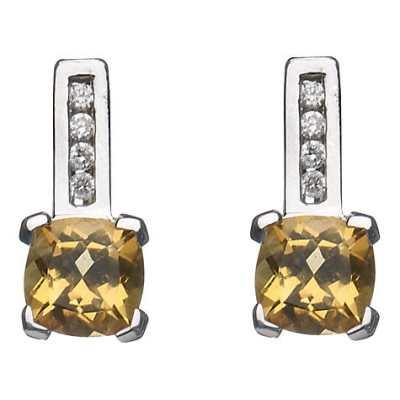 A B Davis 9ct Gold Cushion Cut Diamond Drop Earrings Citrine