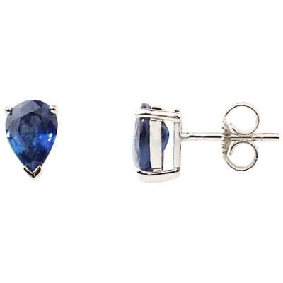 A B Davis 9ct White Gold Sapphire Stud Earrings Blue