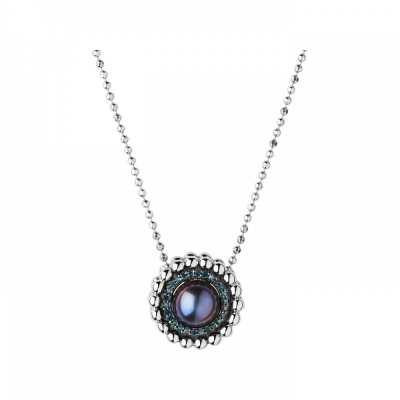 Effervescence Sterling Silver Blue Diamond Pearl Necklace