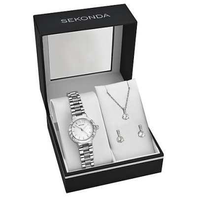 Sekonda 2351G 76 Womens Bracelet Strap Watch Pendant Necklace And Earrings Gift Se