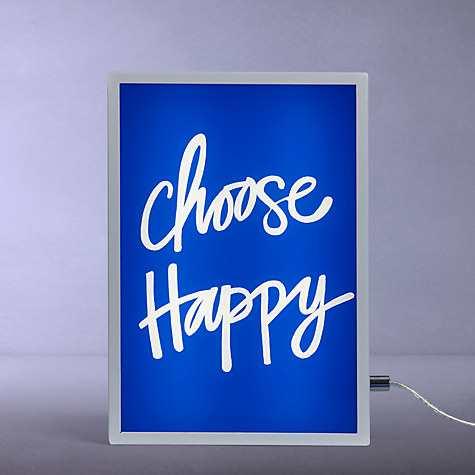 John Lewis Choose Happy Small LED Light Box