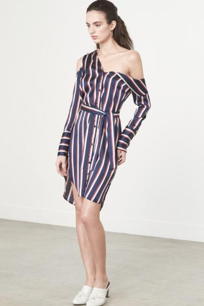 Lavish Alice Asymmetric Shirt Dress In Varsity Stripe Satin