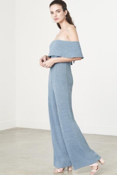 Lavish Alice Bandeau Jumpsuit In Dusty Blue Knit