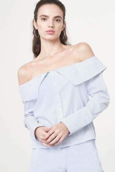 Lavish Alice Bandeau Shirt In White Blue Pinstripe Cotton